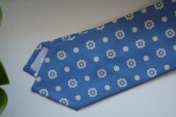 Floral Printed Cotton Silk Tie - Light Blue/White