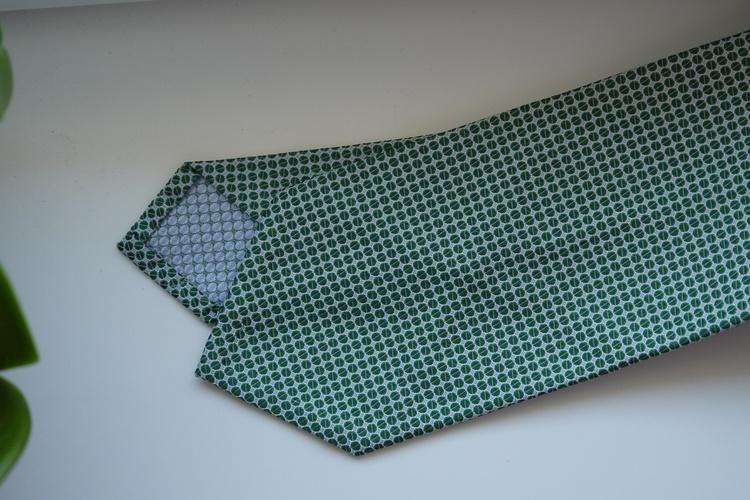 Polka Dot Printed Silk Tie - Green/White