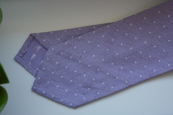 Polka Dot Donegal Silk Tie - Purple/White