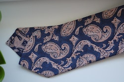Paisley Silk Tie - Navy Blue/Light Orange