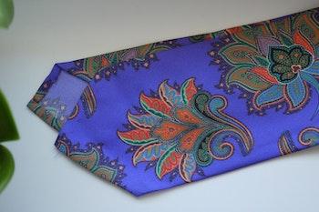 Oriental Printed Silk Tie - Purple/Orange/Green