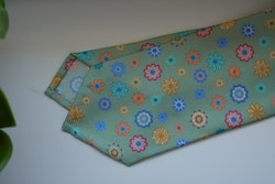Floral Printed Silk Tie - Light Green/Blue/Orange