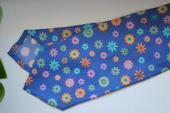 Floral Printed Silk Tie - Violette/Green/Pink