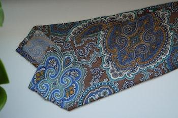Oriental Paisley Printed Silk Tie - Beige/Light Blue/Turquoise
