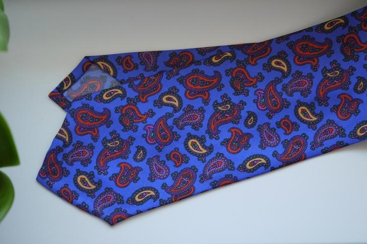 Paisley Printed Silk Tie - Violette Blue/Yellow/Orange
