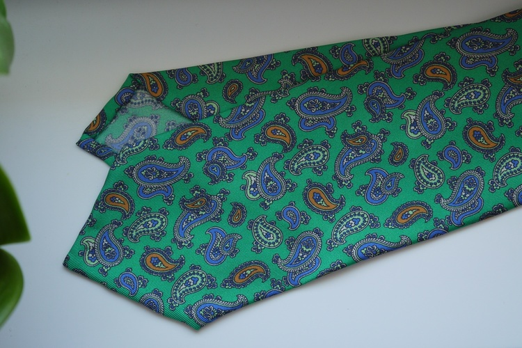 Paisley Printed Silk Tie - Green/Navy Blue/Yellow