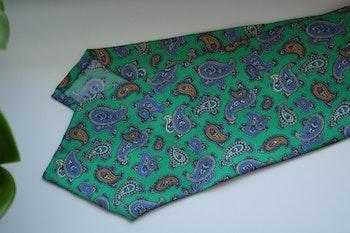 Paisley Printed Silk Tie - Green/Navy Blue/Yellow