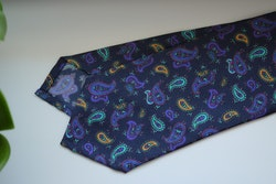 Paisley Printed Silk Tie - Navy Blue/Turquoise/Purple/Yellow