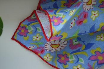 Large Floral Linen Pocket Square - Light Blue/Yellow/Pink/White