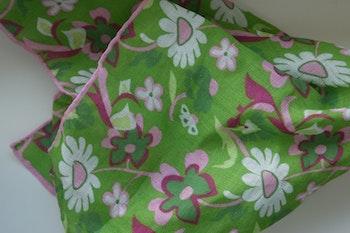 Large Floral Linen Pocket Square - Green/Pink/Purple/White