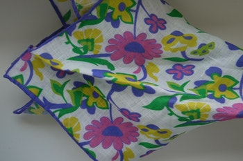 Large Floral Linen Pocket Square - White/Purple/Pink/Yellow