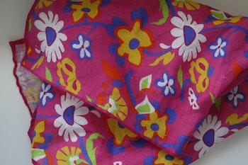 Large Floral Linen Pocket Square - Cerise/Yellow/Navy Blue/White