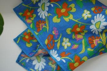 Large Floral Linen Pocket Square - Mid Blue/Orange/Yellow/White