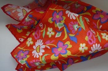 Large Floral Linen Pocket Square - Orange/Yellow/Pink/White