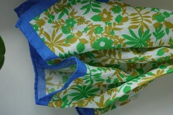 Jungle Linen Pocket Square - Green/White/Blue
