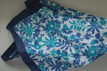 Jungle Linen Pocket Square - Navy Blue/Turquoise/White