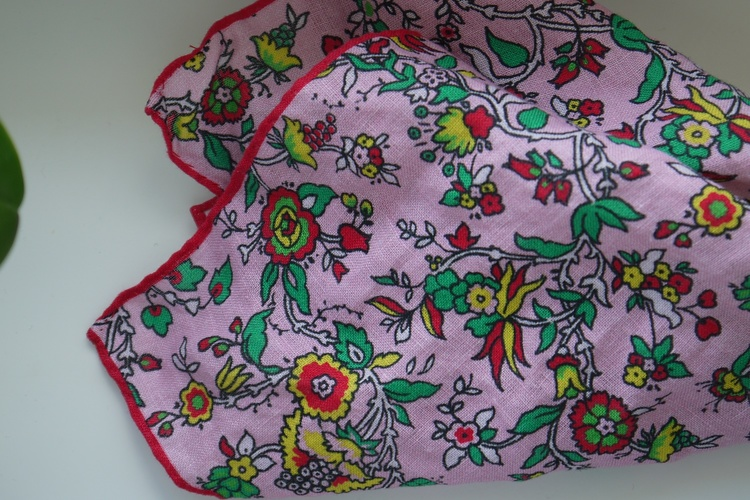 Small Floral Linen Pocket Square - Pink/Red/Green/Yellow