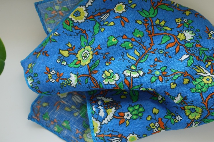 Small Floral Linen Pocket Square - Mid Blue/Orange/Yellow/Green