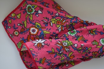 Small Floral Linen Pocket Square - Light Cerise/Blue/Yellow/Green