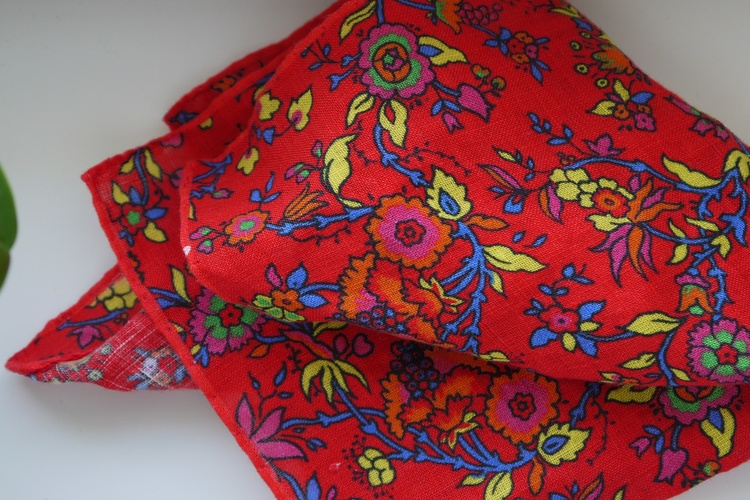 Small Floral Linen Pocket Square - Red/Orange/Blue/Yellow
