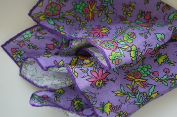 Small Floral Linen Pocket Square - Purple/Green/Pink/Yellow