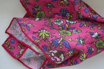 Small Floral Linen Pocket Square - Cerise/Yellow/Green/Mid Blue