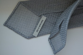 Solid Linen/Silk Grenadine Tie - Untipped - Grey