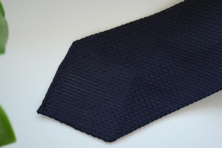 Solid Linen/Silk Grenadine Tie - Untipped - Navy Blue