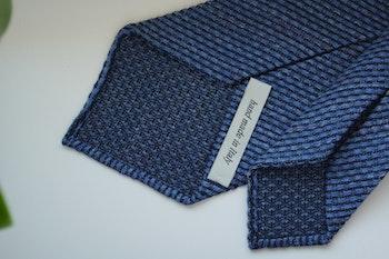 Solid Linen/Silk Grenadine Tie - Untipped - Mid Blue