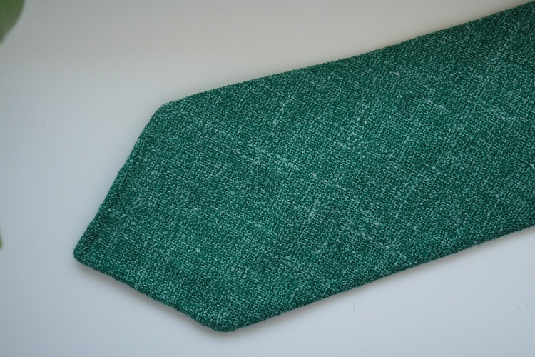 Solid Silk/Linen Tie - Untipped - Green