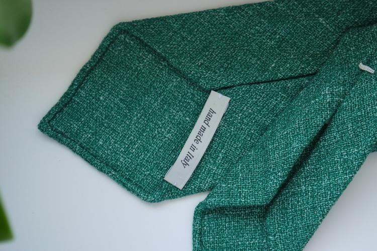Solid Silk/Linen Tie - Untipped - Green