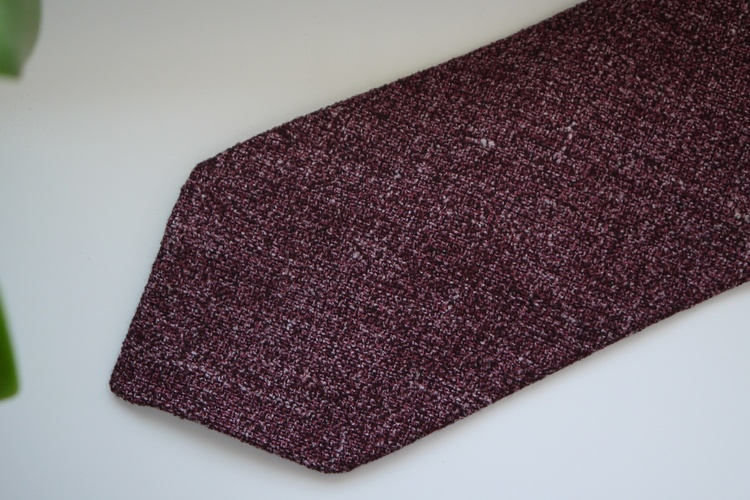 Solid Silk/Linen Tie - Untipped - Burgundy