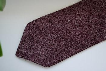 Solid Silk/Linen Tie - Untipped - Burgundy