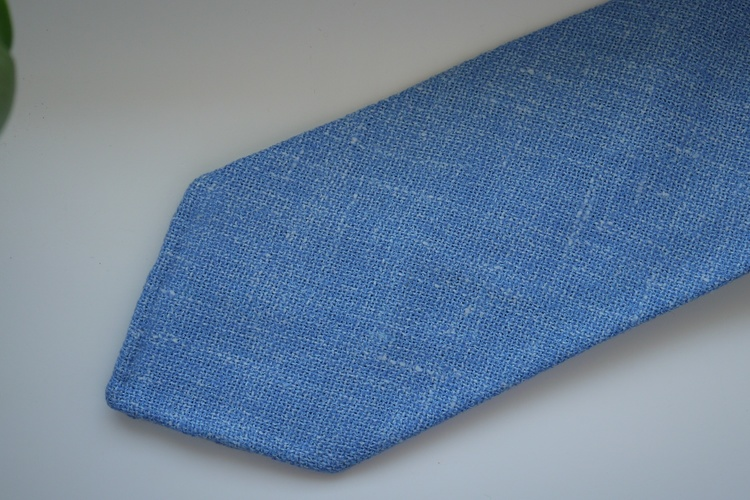 Solid Silk/Linen Tie - Untipped - Light Blue