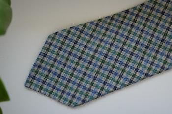 Gun Club Silk/Linen Tie - Untipped - Green/Blue/White