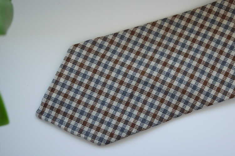 Gun Club Silk/Linen Tie - Untipped - Brown/Navy Blue/Beige