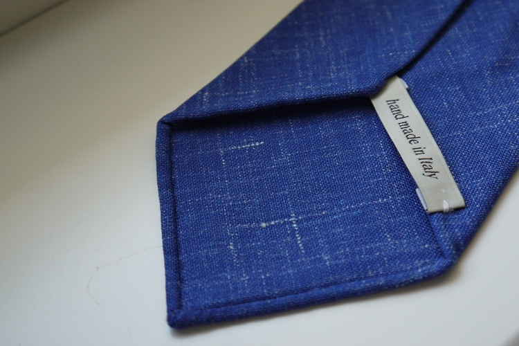 Solid/Plaid Linen Tie - Untipped - Mid Blue