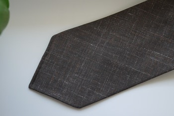 Solid/Plaid Linen Tie - Untipped - Brown