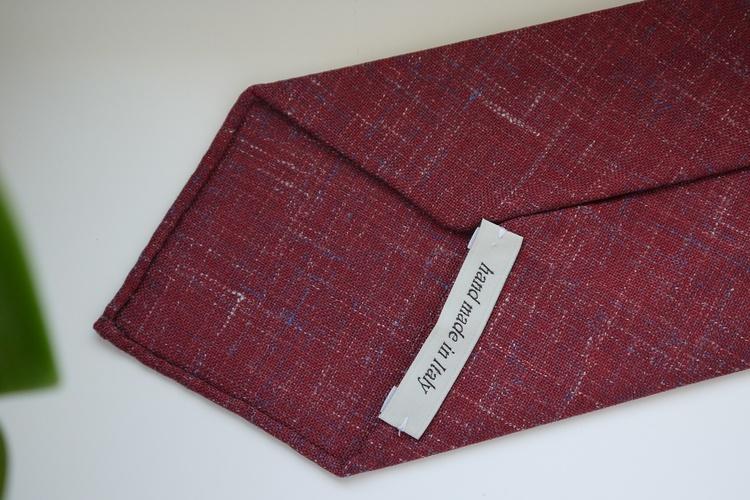 Solid/Plaid Linen Tie - Untipped - Burgundy