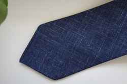 Solid/Plaid Linen Tie - Untipped - Navy Blue