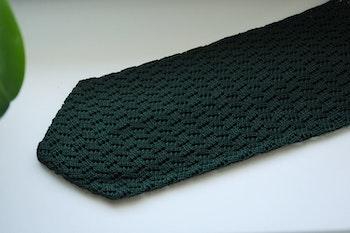 Zigzag Solid Knitted Silk Tie - Dark Green
