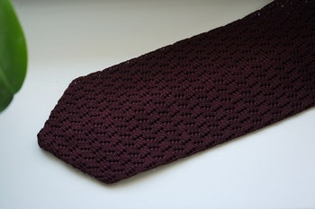 Zigzag Solid Knitted Silk Tie - Bourgogne