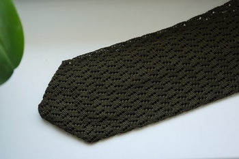 Zigzag Solid Knitted Silk Tie - Olive Green