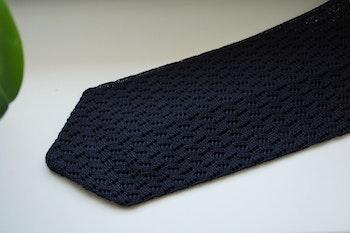 Zigzag Solid Knitted Silk Tie - Navy Blue