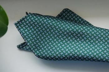 Paisley Silk Pocket Square - Green/Light Blue/White