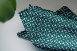 Paisley Silk Pocket Square - Green/Light Blue/White
