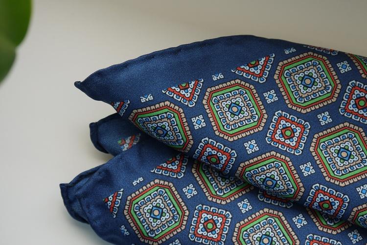 Medallion Silk Pocket Square - Navy Blue/Green/Red/Beige
