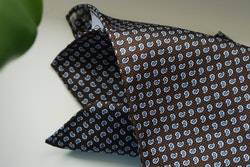 Paisley Silk Pocket Square - Brown/Light Blue/White