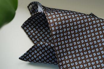 Paisley Silk Pocket Square - Brown/Light Blue/White