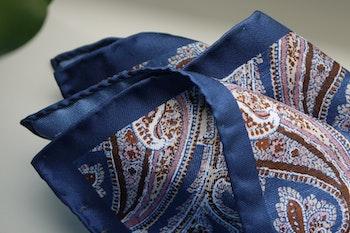 Paisley Silk Pocket Square - Navy Blue/Brown/Pink